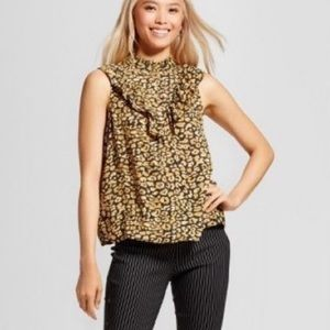 Who What Wear Cheeta Print Sleeveless XS Blouse